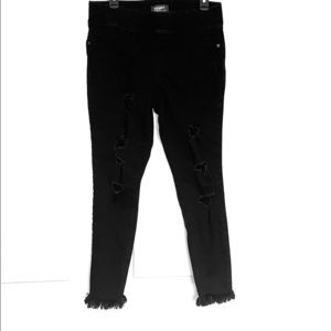 WOMENS BLACK DISTRESSED JEANS